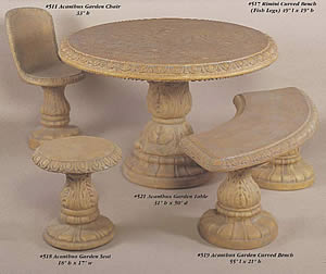 Patio Table and Seats with Acanthus Motif