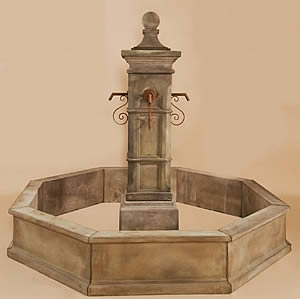 Spillover Aquitaine Column Fountain for Rustic Spouts