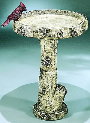 Birch Birdbath With Cardinal, 3 pc.