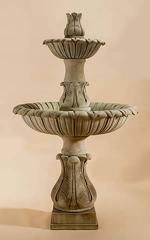 Calanthia 2-Tiered Fountain with Acanthus Finial