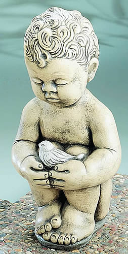 Child and Bird Garden Statue