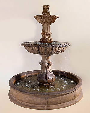 Grandis Calanthia 2-Tiered Pond Fountain