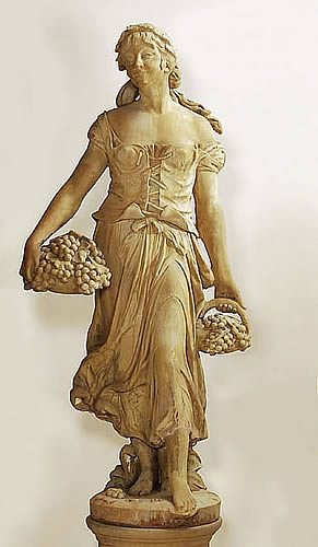 Grape Harvest Woman Statue