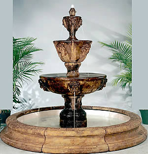 3-Tiered Lion Fountain with Toscana Pool