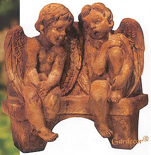 Angels Talking on Bench Statue
