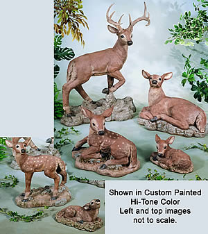 Buck, Doe, Deer, Fawns Statue