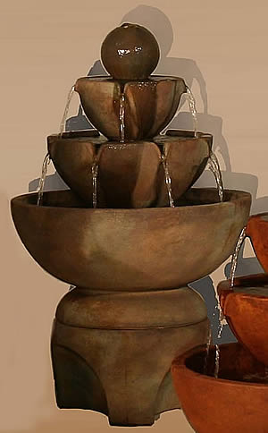 Low Stone Vessels Fountain on Pedestal