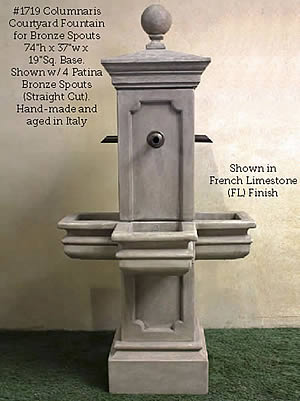 Columnaris Courtyard Fountain for Rustic Spouts