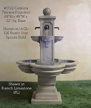 Catalina Terrace Fountain for Rustic Spouts