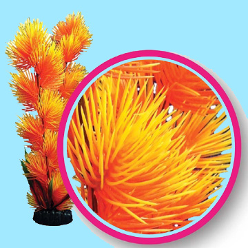 Aquarium Plastic Plants - Orange Pom Pom Plant 9