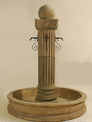 Pantheon Fountain with Ball for Rustic Spouts