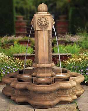 Classic Lion Pillar Fountain &out Splash Baskets