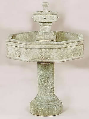 Volterra 2-Tiered Fountain With Tall Base