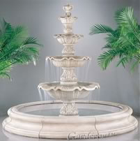 4-Tiered Renaissance Fountain with Toscana Pool. Pompeii Antique Ash