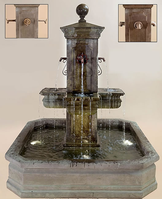Anduze Carré Pond Fountain for Spouts. Antico