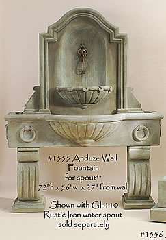 140 Anduze Wall Fountain Tall for Spout