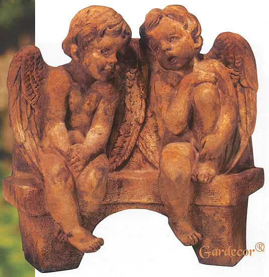 Angels Talking on Bench Statue. Relic Lava