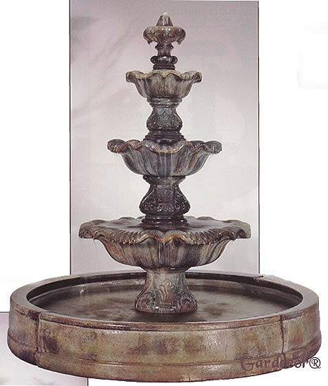 3-Tiered Valencia Renaissance Fountain with Pond. Relic Fumato