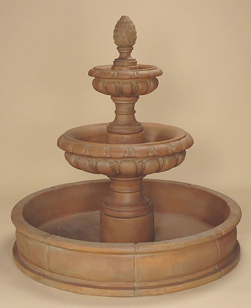 Lombardina 2-Tiered Pond Fountain. Cotto