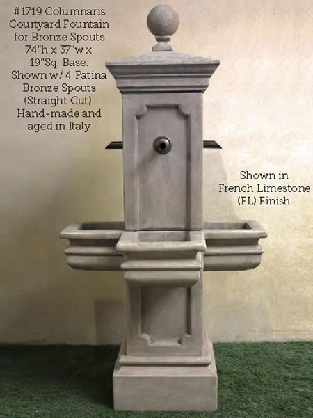 Columnaris Courtyard Fountain for Rustic Spouts. French Limestone