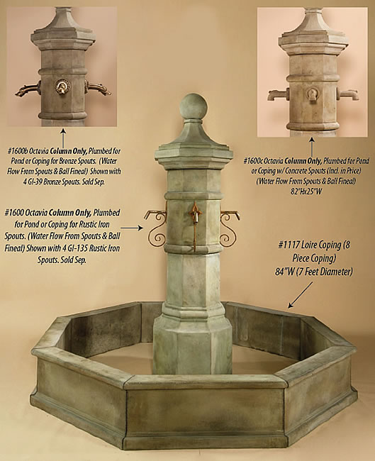 Octavia Column for Spout Fountain Display
