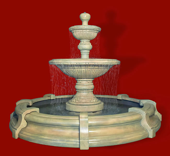 2-Tiered Traviata Fountain in Toscana Pool. Golden Moss
